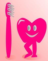 Diente con cepillo de dientes rosa