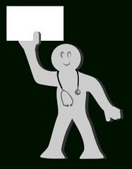 Médico con cartel en blanco en su mano