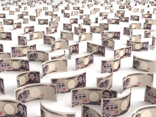 Scattered Japanese Yen