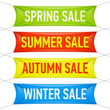 Spring, summer, autumn, winter sale banners