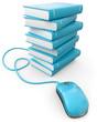 Maus Buchstapel blau