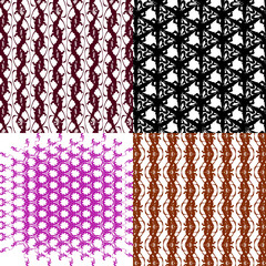 Set of 4 monochrome elegant patterns.Vector ornaments. May be