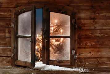 Snow at Open Wooden Christmas Window Pane