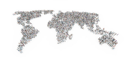 People forming a world map