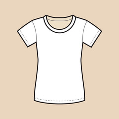 White Blank Female Shirt Template