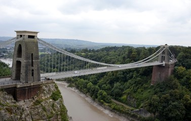 Clifton suspension bridge and cloudy sky