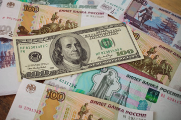 100 dollars backgrounds Russian rubles