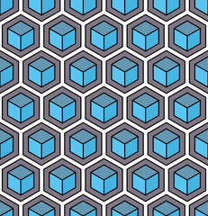A blue seamless hexagonal pattern