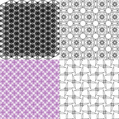 Geometric patterns, tiling. Set of vector abstract vintage
