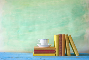 books and a cup of coffee, free copy space