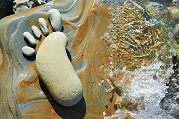 Human footprint in stone