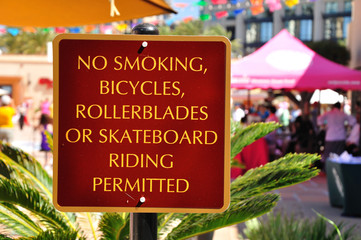 Prohibitory signboard in public place. San Diego city. USA.