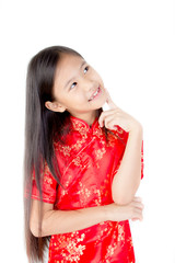Cute Asian girl wearing red traditional Chinese suit
