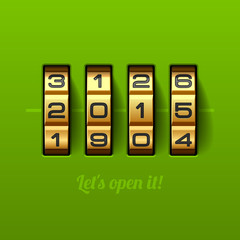 Let`s open new 2015 year card - combination lock