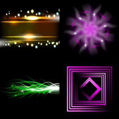 Set of Blurry abstract lines. Light effect. Sparkle background.