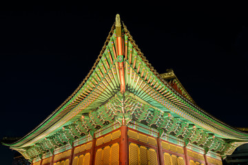 Deoksugung palace, Seoul, South Korea, at night