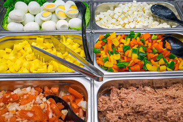 Salad buffet with a lot of choice seen in a restaurant
