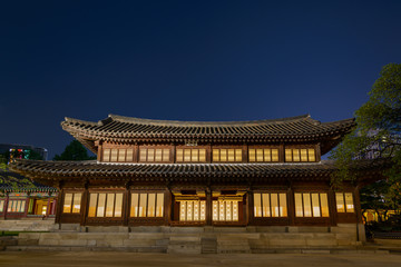 Wooden building in Deoksugung palace, Seoul, Korea, at night