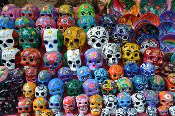 Multicolored porcelain skulls – souvenir stall - Chichen Itza –