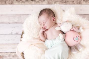 Newborn Kleine Prinzessin in einem Korb