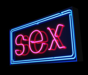 Sex neon sign illuminated over dark background