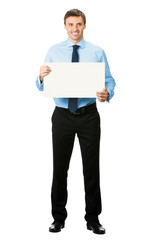 Full body of businessman showing signboard, isolated