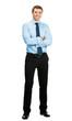 Full body portrait of happy business man, on white