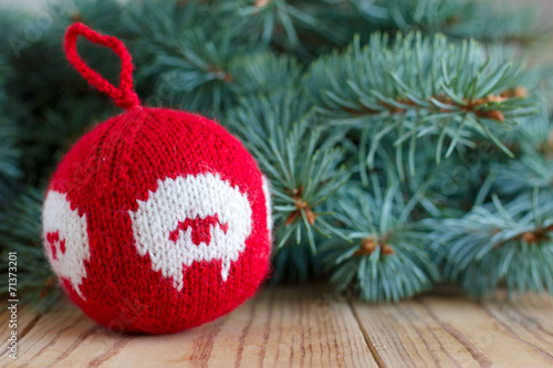 canvas print picture Knitted decor for new-year tree with the symbol of the year