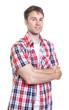 canvas print picture - Entspannter Mann im karierten Hemd