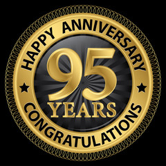 95 years happy anniversary congratulations gold label with ribbo