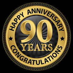 90 years happy anniversary congratulations gold label with ribbo