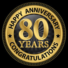 80 years happy anniversary congratulations gold label with ribbo