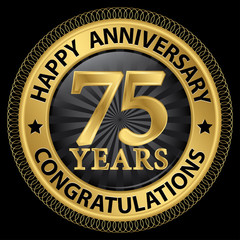 75 years happy anniversary congratulations gold label with ribbo