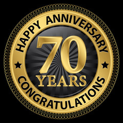 70 years happy anniversary congratulations gold label with ribbo