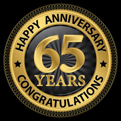65 years happy anniversary congratulations gold label with ribbo