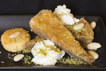 Baklava with the whipped cream