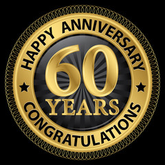 60 years happy anniversary congratulations gold label with ribbo
