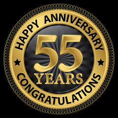 55 years happy anniversary congratulations gold label with ribbo