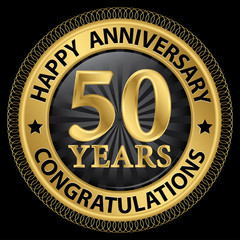 50 years happy anniversary congratulations gold label with ribbo