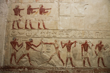 Fragment of bas-relief in the ancient temple. Egypt.