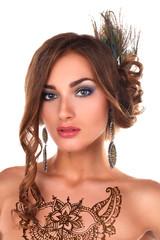 beautiful woman with henna tattoo mehendi