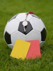 yellow  red card soccer ball whistle