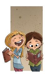 niña y niño con libros