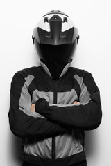 Man in motorcycle suit