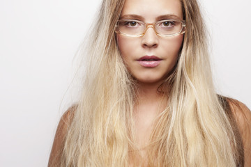 Blond Woman with Eye Glasses Portrait