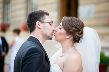 Happy just married couple kissing
