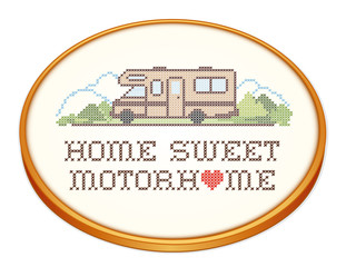 Home Sweet Motor Home, Class C Model, Cross Stitch Embroidery