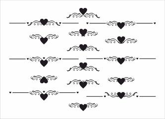 decorative heart delimiter separator element set