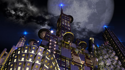 Futuristic city at night with looming giant moon