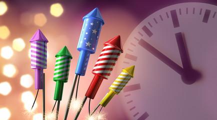 Feuerwerksraketen mit Uhr